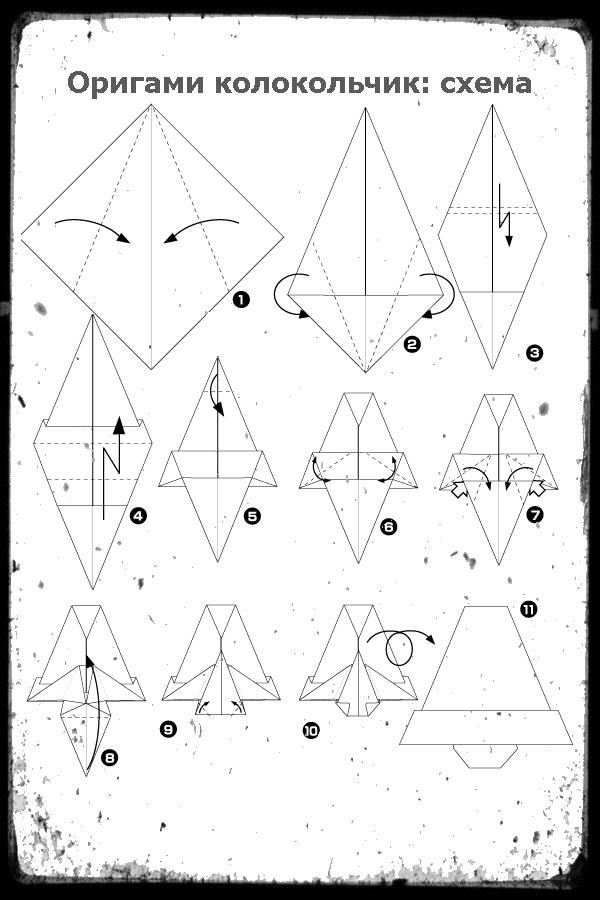 Оригами колокольчик схемы